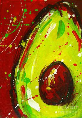 Abstract Lemons Painting - Crazy Avocado 3 - Modern Art by Patricia Awapara