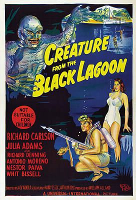 Creature From The Black Lagoon, Bottom Print by Everett
