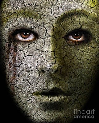 Creepy Cracked Face With Tears Print by Jill Battaglia