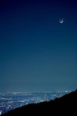 Crescent Moon And Venus Print by Tomosang