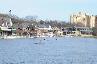 Crew Along Boathouse Row Print by Bill Cannon