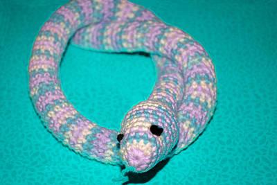 Snake Photograph - Crochet Snake In Blue by LeeAnn McLaneGoetz McLaneGoetzStudioLLCcom