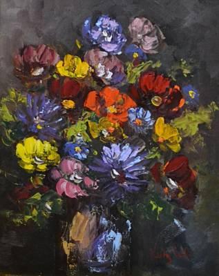 Crock Of Flowers Original by Kathy  Cuiffi