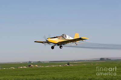 Farm Photograph - Crop Duster Flying Over Farm  by Cindy Singleton