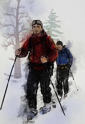 Cross-country Skiing Painting - Cross Country Skiers by Elaine Plesser