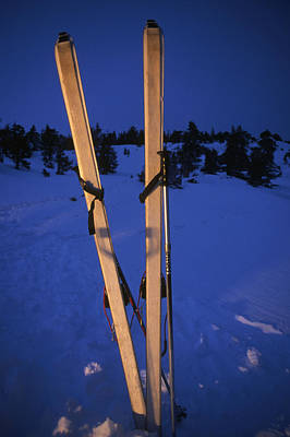 Cross-country Skis Standing Upright Print by Phil Schermeister