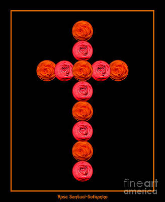 Jesus Photograph - Cross Of Red And Orange Roses by Rose Santuci-Sofranko