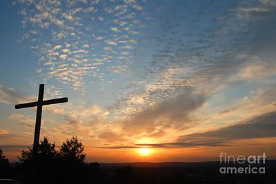 Cross Sunset Print by Richard Fairless