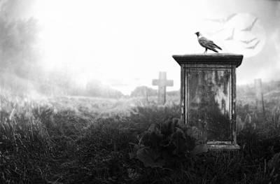 Creepy Digital Art - Crow On A Gravestone by Jaroslaw Grudzinski