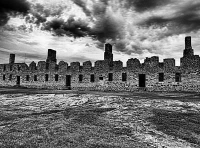 Crown Point Barracks Black And White Print by Joshua House