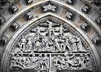 Reliefs Photograph - Crucified Christ - Saint Vitus Cathedral Prague Castle by Christine Till
