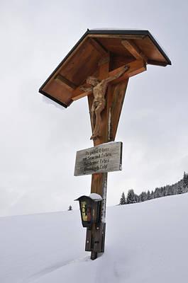 Wayside Photograph - Crucifix In Winter Landscape by Matthias Hauser
