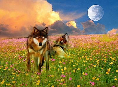 Wild Wolf Mixed Media - Cry At The Moon by Georgiana Romanovna
