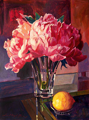 Crystals Painting - Crystal Pink Peonies by David Lloyd Glover