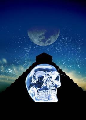 Crystal Skull And Maya Pyramid, Artwork Print by Victor Habbick Visions