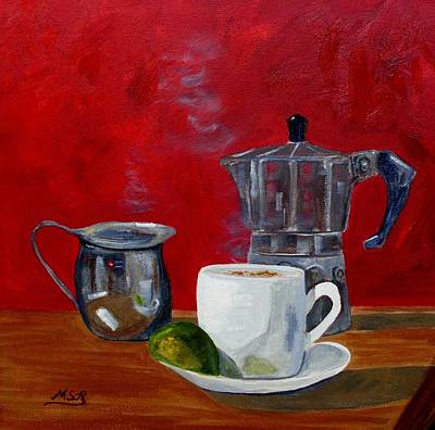 Painting - Cuban Coffee Lime And Creamer 2 by Maria Soto Robbins