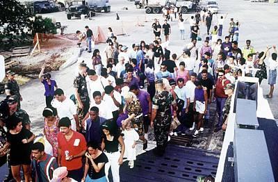 Cuban Migrants At Guantanamo Bay Naval Print by Everett