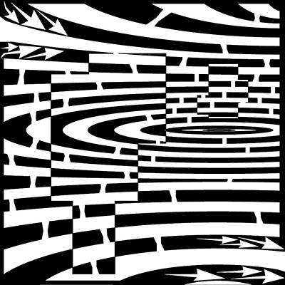 Frimer Drawing - Cubes Inside A Sphere Maze by Yonatan Frimer Maze Artist
