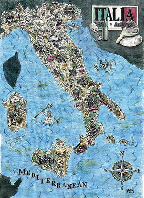 Culinary Drawing - Culinary Map Of Italy by Big Tasty