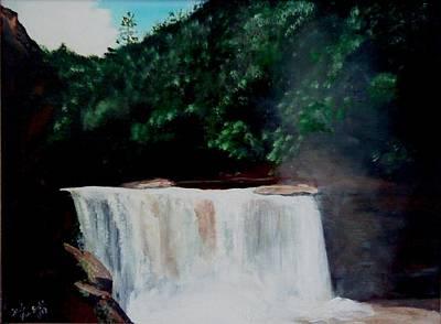Cumberland River Painting - Cumberland Falls by Carol Van Sickle