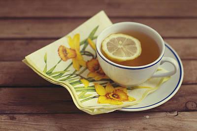 Lemon Photograph - Cup Of Tea With Lemon by Copyright Anna Nemoy(Xaomena)