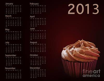 Cupcake Calendar 2013 Print by Jane Rix