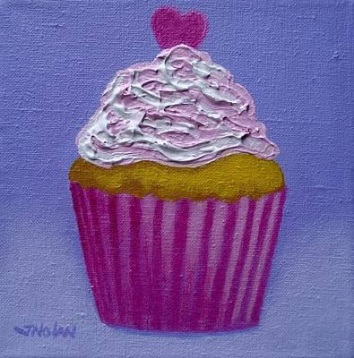 Cupcake With Heart Print by John  Nolan