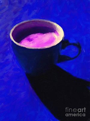 Cuppa Joe - Blue Print by Wingsdomain Art and Photography