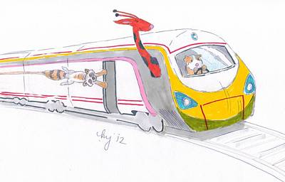 Raccoon Mixed Media - Cute Cartoon High Speed Train And Animals by Mike Jory