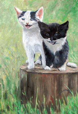 Cat Painting - Cute Kittens by Ronald Haber