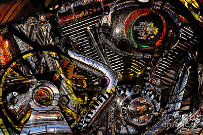 Cyberpunk Harley-davidson Modified In Abstract . 7d12658 Print by Wingsdomain Art and Photography