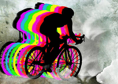 Cyclists Cycling In The Clouds Print by Elaine Plesser
