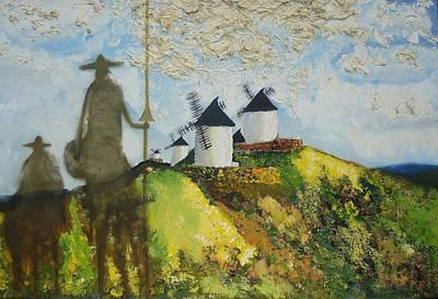 Surreal Painting - D. Quixote De La Mancha E Sancho by Mario  Feijoca