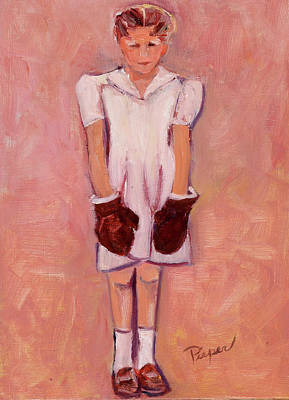 Girl With A Pink Dress Painting - Daddy's Girl by Elzbieta Zemaitis