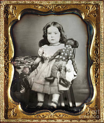 Rag Doll Photograph - Daguerreotype: Girl, C1852 by Granger