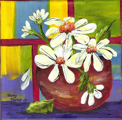 Daisies In A Red Bowl Print by Terry Taylor