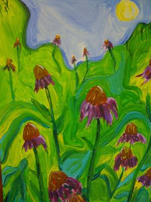 Abstracted Coneflowers Painting - Dance Of The Coneflowers by Stephanie Mills