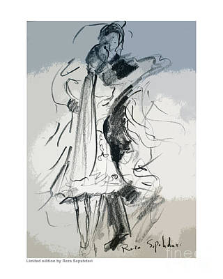 Drawing - Dance With A Veil by Reza Sepahdari