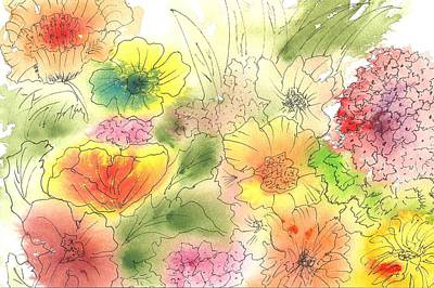 Ink Painting - Dancing Flowers by Christine Crawford
