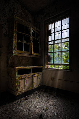 Dark And Empty Cabinets Print by Gary Heller