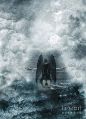 Dark Angel Kneeling On Stairway In The Clouds Print by Jill Battaglia
