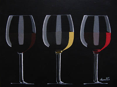 Painted Wine Glass Painting - Dark Light Medium by Kayleigh Semeniuk