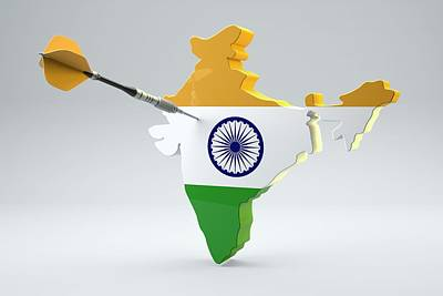 Targets Digital Art - Dart Arrow In A Shape And Ensign Of India by Dieter Spannknebel