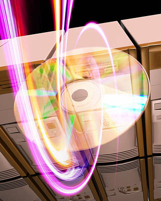 Abstract Digital Light Trails Photograph - Data Storage by Victor Habbick Visions
