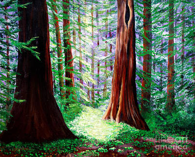 Daybreak In The Redwoods Print by Laura Iverson