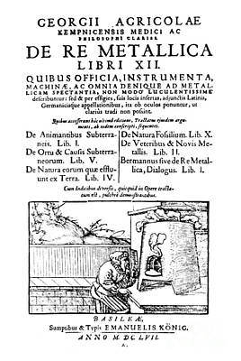 De Re Metallica, Title Page, 16th Print by Science Source