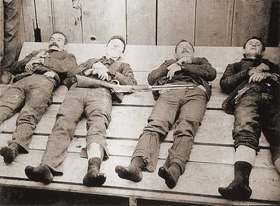 Dead Bodies Of Four Members Print by Everett