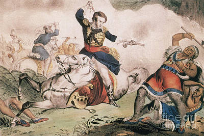Death Of Tecumseh At Battle Of Thames Print by Photo Researchers