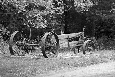 Decaying Wagon Black And White Print by Thomas Woolworth