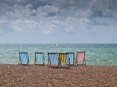 Y120817 Photograph - Deck Chairs And Yacht by Darren Lehane